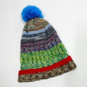 Multi-color pom pom slouchy beanie